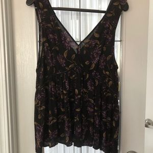American Eagle Black Floral Tank Top